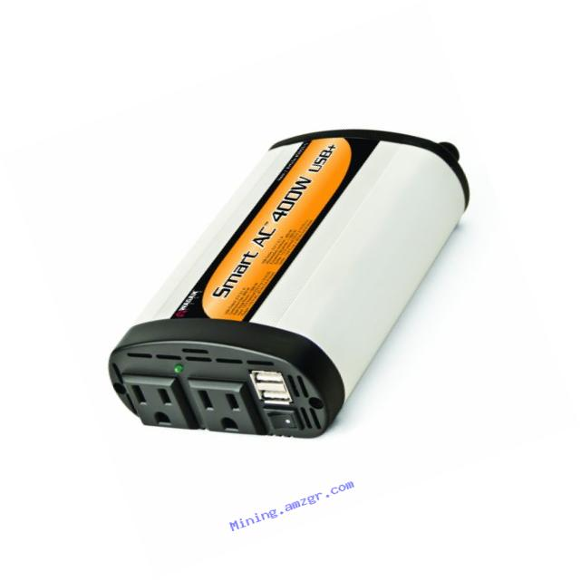 Wagan EL2003-5 SmartAC 400 Watt Continuous Power Inverter with 5V 2.1 Amp USB Charging Ports